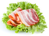 Bacon rolls on white background