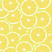 Seamless pattern of yellow lemons - vector illustration