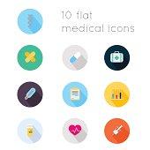 Modern flat icons of medical theme