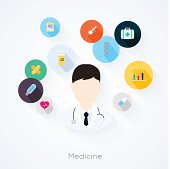 Doctor character with medicine icons. Vector illustration