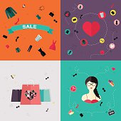Set of flat design concept icons for beauty and shopping.