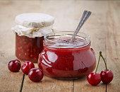 two jars of fruit jam with cherries