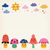 mushrooms, clouds, sun nature illustration lined paper background