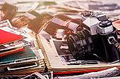 Vintage photo camera and photo album