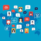 Social network concept People avatars with speech bubbles business
