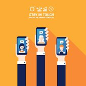Hand holding smart phone. Social network and communication