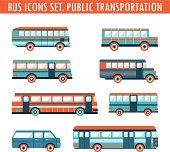Bus icons set. Public transportation