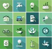 set of flat  ecology icon