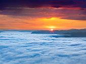 Sunrise over the sea of fog
