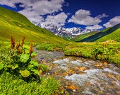 Fantastic landscape with a river in the mountains.