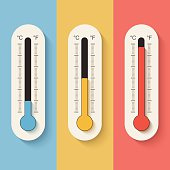 Thermometers on color background.