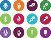 Microphone circle icons on white background.