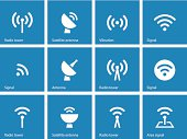 Radio Tower icons on blue background.