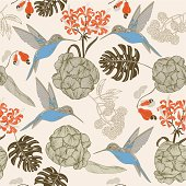 Hand draw tropical flower and bird, seamless pattern background