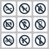 "Vector ""prohibitory signs"" icons set"