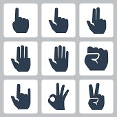 Vector hands icons set