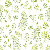 Floral seamless pattern with spring branches and leaves