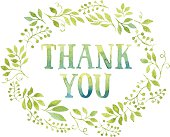 Words Thank You in floral wreath with branches and leaves