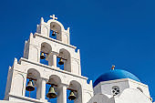 Chapel on Santorini Island, blue dome, Greece