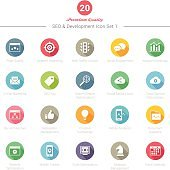 Set of Round Long Shadow SEO and Development icons Set 1