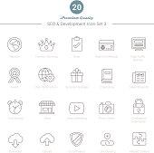 Set of Thin Line SEO and Development icons Set 3