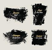 Vector black Ink grunge stains.