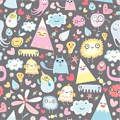 seamless pattern of funny little monsters