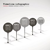 Monochrome Infographic timeline report template with  bubbles - events