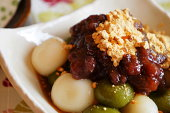 Japanese dessert, shiratama and red beans