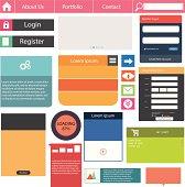 Flat user interface vector set for website development