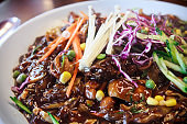 Jajangmyeon, noodle dish topped with a thick sauce