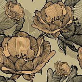 Seamless pattern with abstract blooming flowers, hand-drawing. Vector illustration.