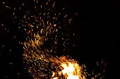Abstract nature, long exposure photo of fire camp sparkles