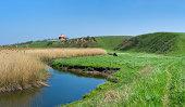 Rural landscape with small Ukrainian river Sura
