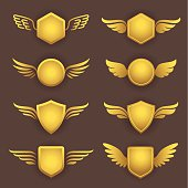 Heraldic shapes with wings