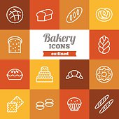 Set of flat outlined bakery icons