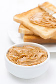 bowl of peanut butter and crispy toast