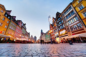 Wroclaw, Poland in Silesia region. Market square at the evening