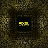 Abstract Pixel Yellow Bright Glow Background.
