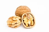 Closeup of a walnuts isolated on white background