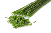 beautiful green onion chives isolated on white