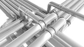 Modern industrial metal pipeline fragment. 3d render