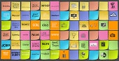 icons of business strategy on sticky note as co