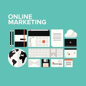 Online marketing flat icons set