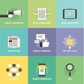 Social media marketing and development flat icons