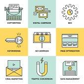 Digital marketing and seo optimization flat icons