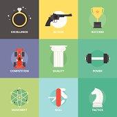 Business improvement skills flat icons set