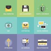 Digital marketing and web optimization flat icons