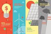 Energy and power savings flat banner set