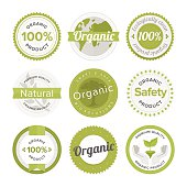 Natural organic product flat labels set